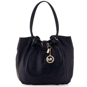 HP LRG Michael Kors Ring Tote MD EW Black Leather